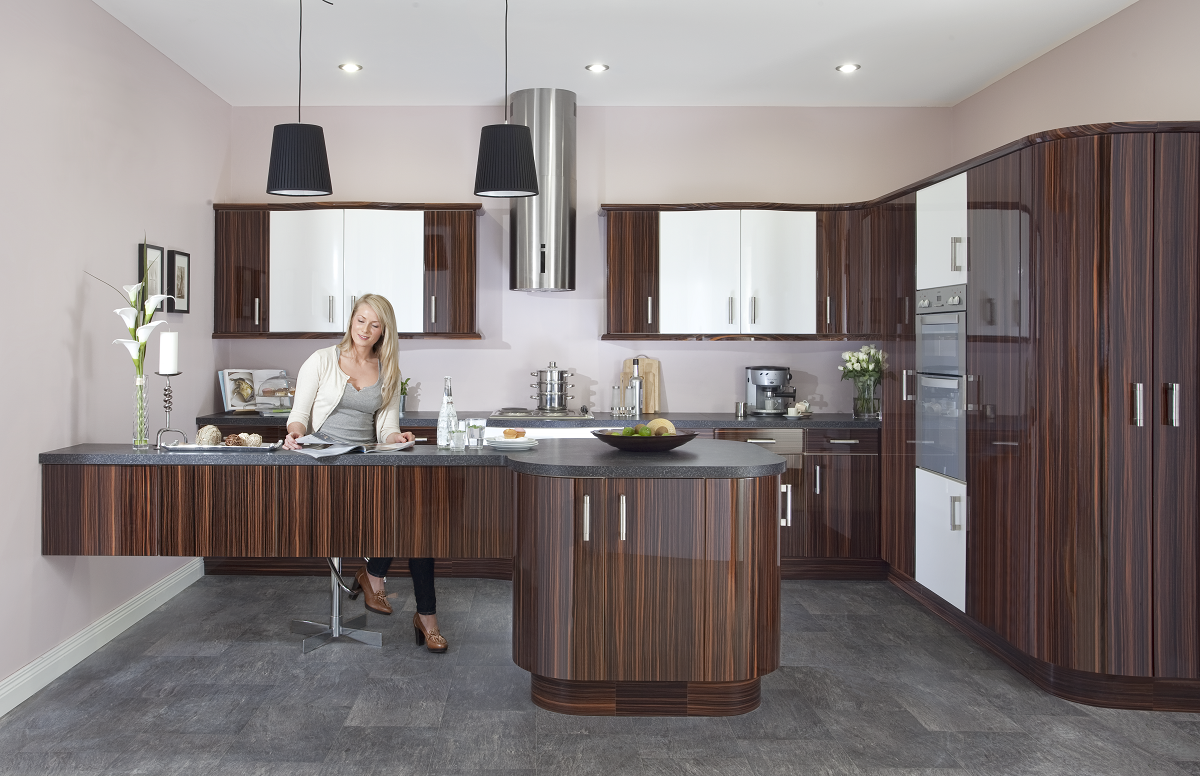 Duleek gloss zebrano d1kitchens the best in kitchen design for Kitchen cabinets ireland